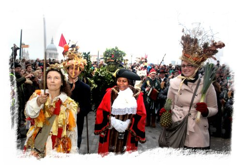 Twelfth Night - The Mayor of Southwark with King Bean, the Winter Green Man and Queen Pea ©vcsinden2013