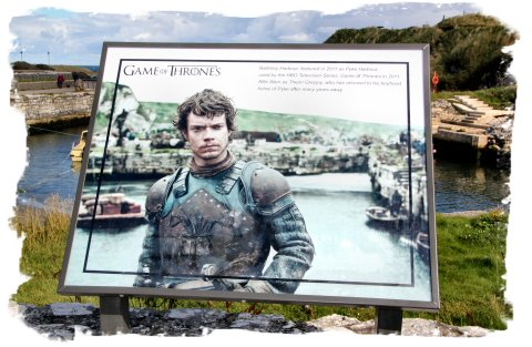 Ballintoy harbour acknowledges its fame as a location for 'Game of Thrones' ©vcsinden2013