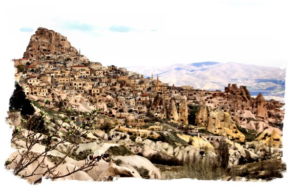 Uchisar from Pidgeon Valley, Cappadocia, Turkey ©vcsinden2014