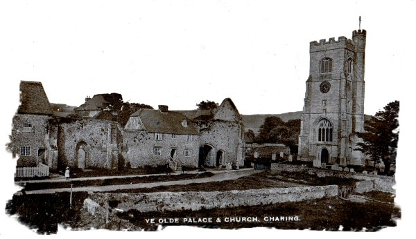 Charing, Kent - old postcard of the Palace and Church