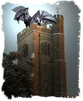Charing, Kent - Storm Dragon on the church  tower. From the book The Wolf Moon Shines on Muddypond Green.