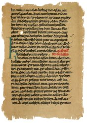 A facsimile of a page from The Book of Taliesin - in the National Library of Wales.