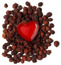 Dried hawthorn berries with associated heart-motif
