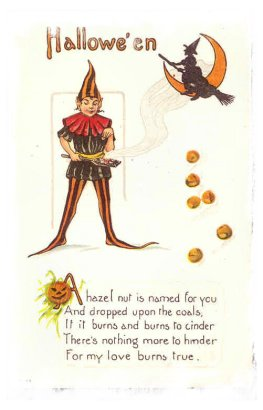 Vintage 'Superstition Postcard' - hazel nuts
