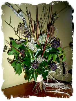 Winter tied bunch, using Ogham twigs by eco-faery Muddypond Green.