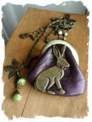 Charm bag - leather hare purse on a necklace from kikosattic