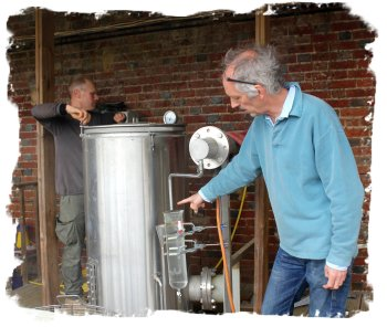Downderry Lavender Nursery owner Simon Charlesworth with the oil distillery