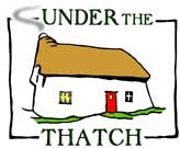 The logo for Under The Thatch - eco sustainable holiday cottages, rescued  restored traditionally