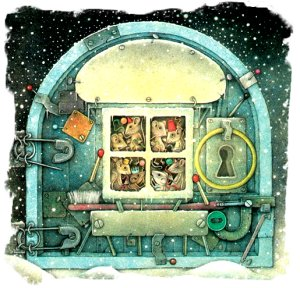 Wayne Anderson snow mice in steam punk shelter