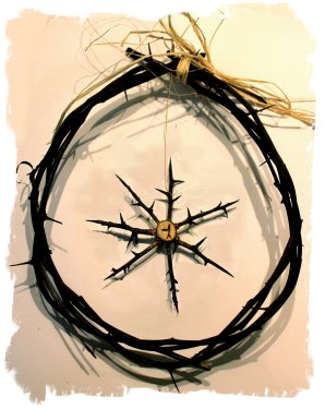 Faery token made from hawthorn Ogham thorns ©vcsinden2011