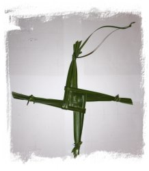 brigid's Cross in reed grass, freshly made for St Brigid's Day ©vcsinden2014
