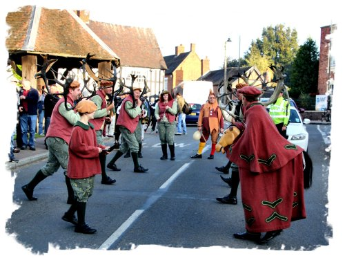 Horn Dance, Abbots Bromley 2014 - stopping traffic beside the Village Green ©vcsinden2014