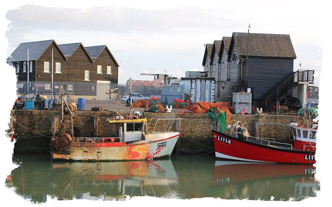 Whitstable harbour fishing boats at dawn ©vcsinden2017