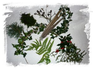 Evergreen items needed to make a fairy winter crown for a dragon