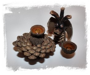 Pine cone crafts - young ConeDragon ladling honey from an acorn spoon ©vcsinden 2012