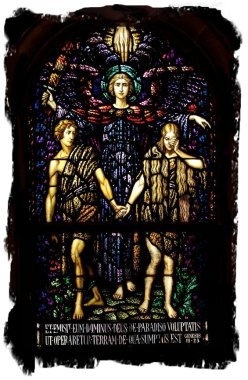 Expulsion of Adam and Eve' in stained glass, Wisconsin