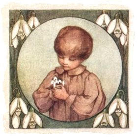 'Boy with Snowdrops - illustration for February by Isabel Bonus